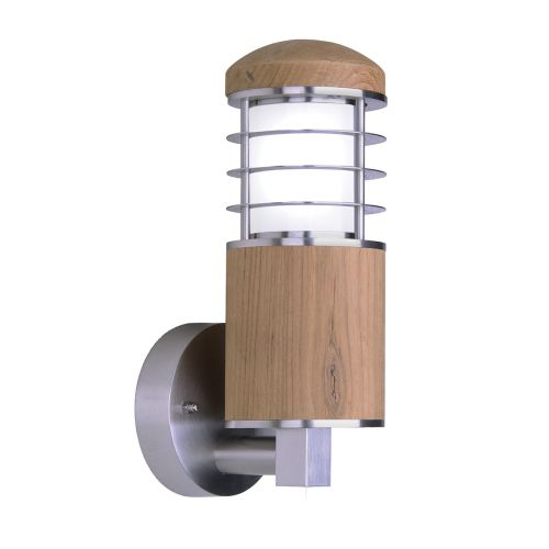 Garden Zone GZ/POOLE W Poole 1Lt Stainless Steel and Teak Outdoor Wall Light