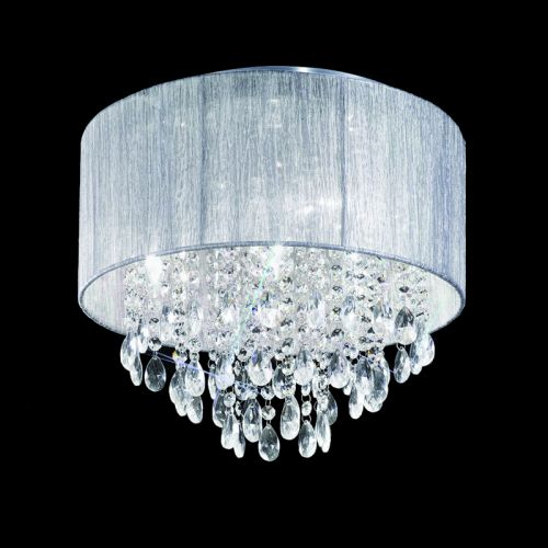 Flush Ceiling Fitting 4 Light Silver Shade And Crystal Roya LEK61517