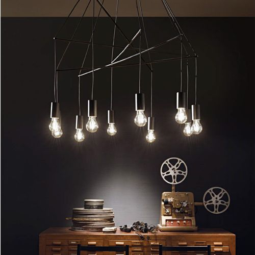 Ideal Lux 158860 Pop 10Lt Black Ceiling Multi-Arm Pendant