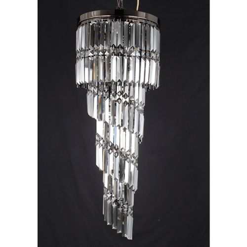 Impex CF112024/09/GM Toronto 9Lt Gun Metal Smoked Crystal Ceiling Long Pendant