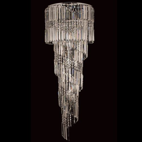 Impex CF112024/14/CLR/CH Toronto 14Lt Polished Chrome Clear Crystal Long Ceiling Pendant
