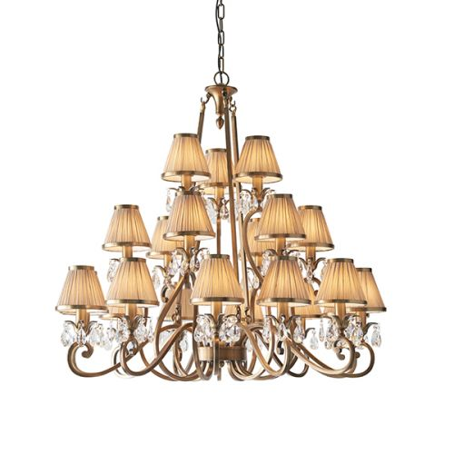 Interiors 1900 Oksana 21-Light Chandelier Beige Shade 63519