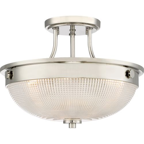 Quoizel Mantle 2Lt Semi-Flush Ceiling Light Polished Nickel QZ/MANTLE/SF IS
