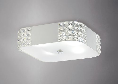Diyas IL31191 Denver  Small Crystal Ceiling Flush 4 Light White Frame