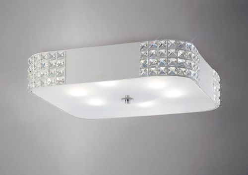Diyas IL31192 Denver Large Crystal Ceiling Flush 6 Light White Frame