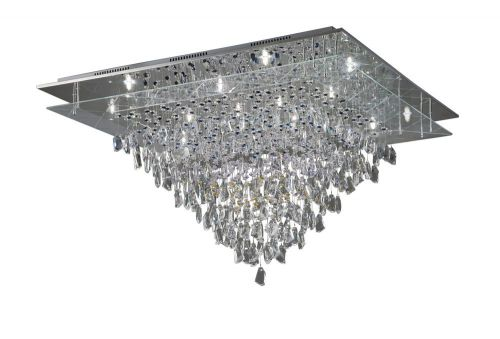 Diyas IL31340 Amaris Crystal 14 Light Flush Ceiling Fitting Polished Chrome Frame