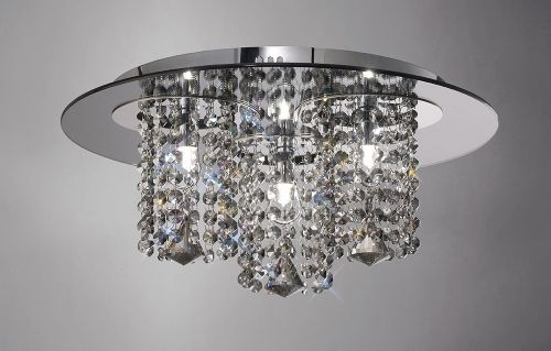 Diyas IL31466 Pegasus Crystal Ceiling Flush 3 Light Smoked Mirror Polished Chrome Frame