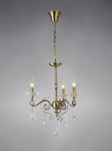 Diyas IL32073 Libra Pendant 3 Light Antique Brass Crystal