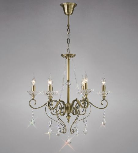 Diyas IL32076 Libra Pendant 6 Light Antique Brass Crystal