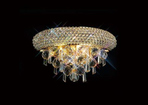Diyas  Alexandra  Small 2 Light Wall Lamp Gold/Crystal IL32100