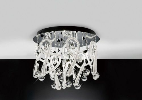 Diyas IL50382 Class Ceiling Fitting Round 10 Light Polished Chrome White Glass Crystal