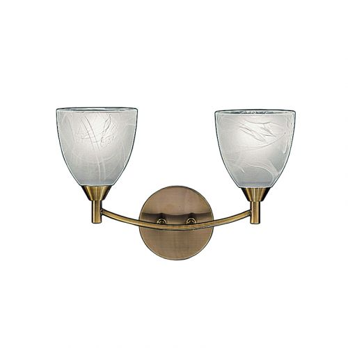 Wall 2 Light  Fitting Bronze Alabaster Shades Harriet LEK60472