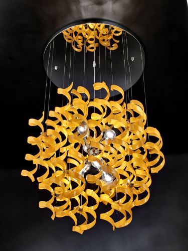 Metal Lux Astro 6 Light Orange Glass Pendant 206.175.12