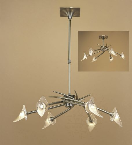 Mantra M0301AB Flavia Telescopic Pendant Semi Flush Fitting Round 6 Light Antique Brass