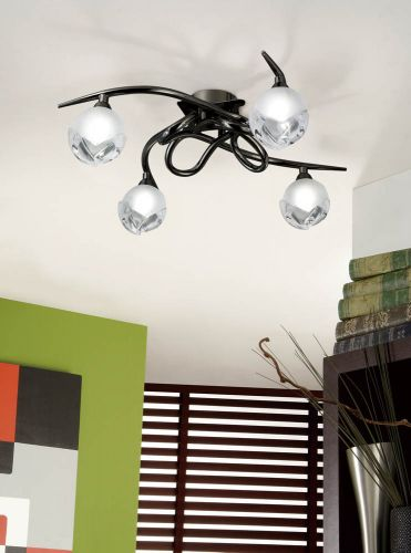 Mantra M0807BC Fragma 4 Light Semi-Flush Ceiling Fitting G9 Black Chrome