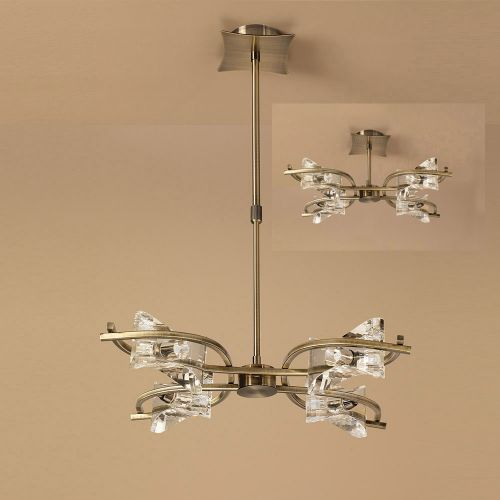 Mantra M0881AB Kromo Telescopic Semi Flush Convertible 4 Light G9 Antique Brass