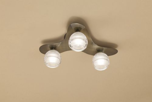 Mantra M1828 Loop Ceiling Fitting 3 Light G9 ECO Antique Brass