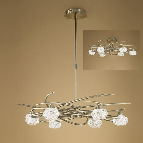 Mantra M4072 Maremagnum Telescopic Semi Flush Convertible 6 Light G9 Antique Brass