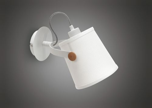 Mantra M4924 Nordica Wall Lamp White Shade 1 Light E27 Matt White Beech Ivory White Shade