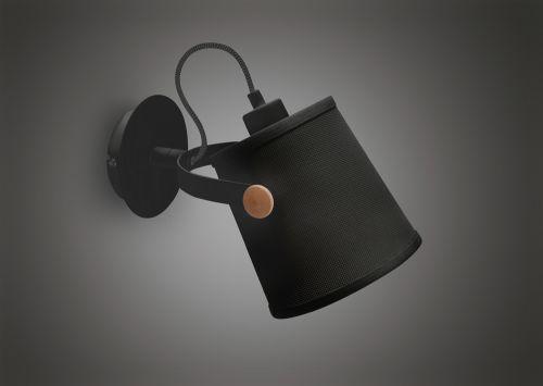 Mantra M4925 Nordica Wall Lamp Black Shade 1 Light E27 Matt Black Beech Black Shade