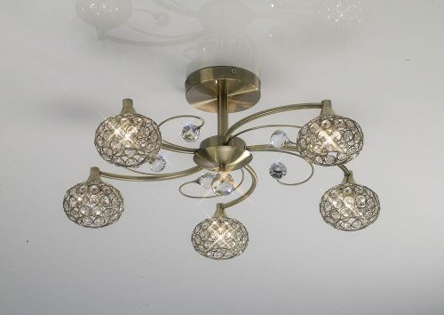 Diyas IL30945 Cara Semi Flush Ceiling 5 Light Antique Brass Crystal