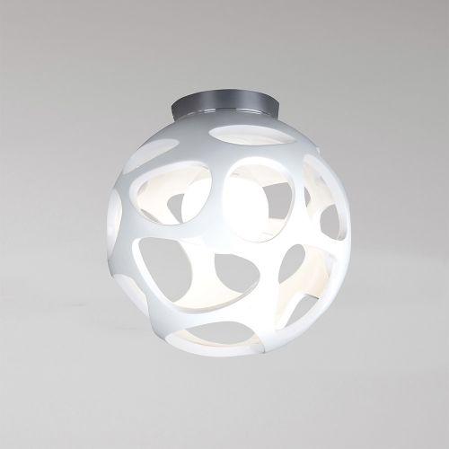 Mantra M5143 Organica Flush Ceiling Fitting 1 Light E27 Gloss White Polished Chrome