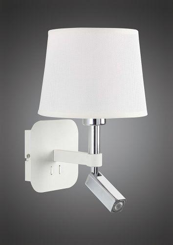 Mantra M5316 Habana Wall Lamp 1 Light Without Shade E27 Reading Light 3W LED 3000K 200lm Matt White Polished Chrome