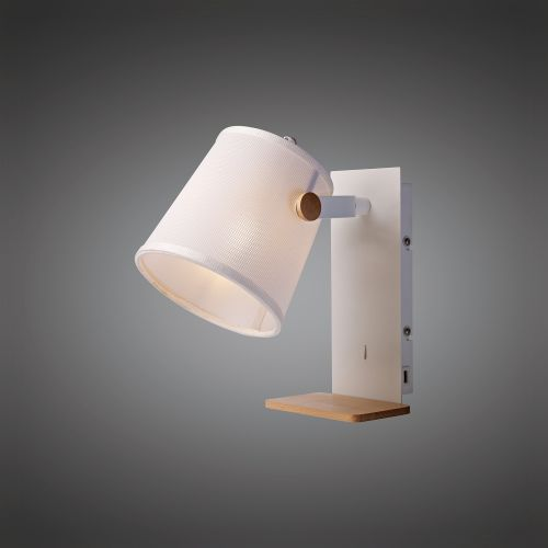 Mantra M5462 Nordica II Position Wall Light USB Socket 1x23W E27 White Beech White Shade