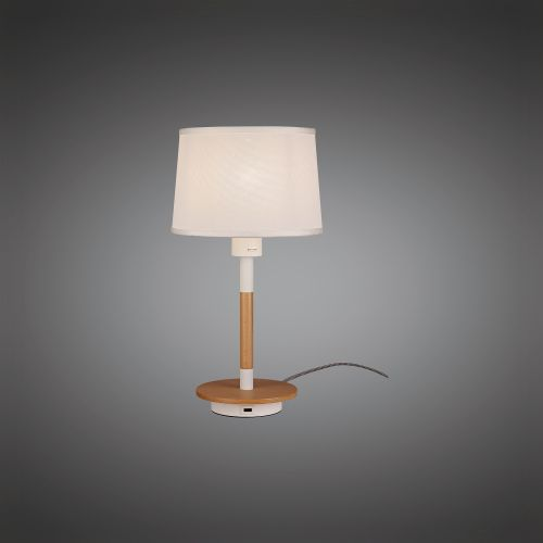 Mantra M5464 Nordica II Table Lamp USB Socket 1x23W E27 White Beech White Shade
