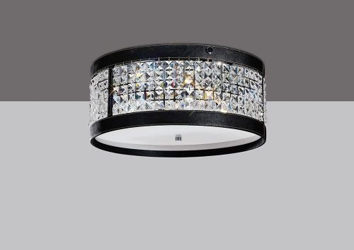 Diyas IL31031 Celsa Flush Ceiling Fitting 4 Light Polished Chrome Black Faux Leather Crystal