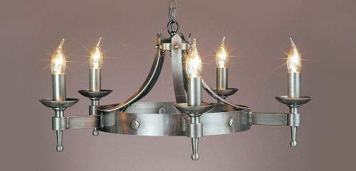 Impex SMRR01075/STR Saxon Sterling Ceiling 5 Light Iron Chandelier