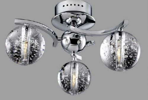 Avivo Bubbles FX1302-3A CH/CL 3 Light Flush Chrome Clear Glass Ceiling Fitting