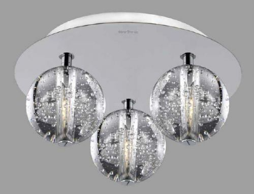 Avivo Bubbles FX1302-3B CH/CL 3 Light Flush Chrome Clear Glass Ceiling Fitting