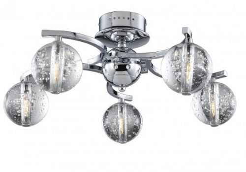 Avivo Bubbles FX1302-5A CH/CL 5 Light Flush Chrome Clear Glass Ceiling Fitting