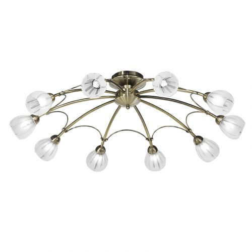 Semi-Flush Bronze Ceiling 10 Light Frosted Glass Shades Flora LEK61175