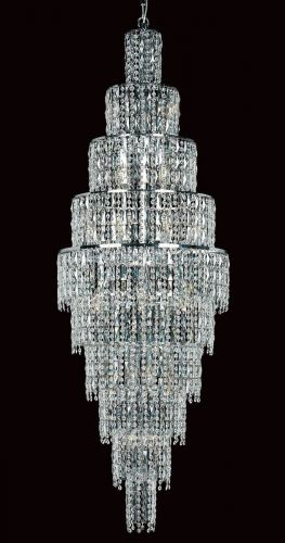 Impex CB03220/24/CH New York 24 Light Czech Crystal Long Ceiling Chandelier Chrome