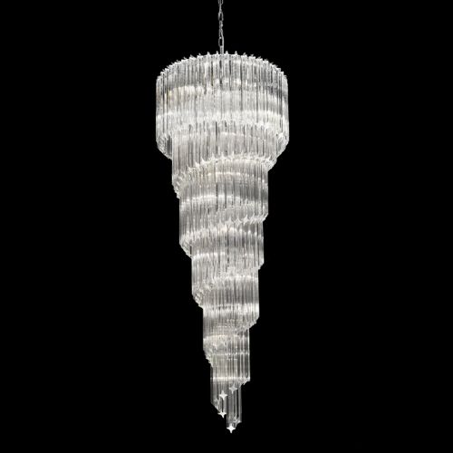 Spiral Crystal Pendant 13 Light Fitting Chrome Ravenna LEK61494