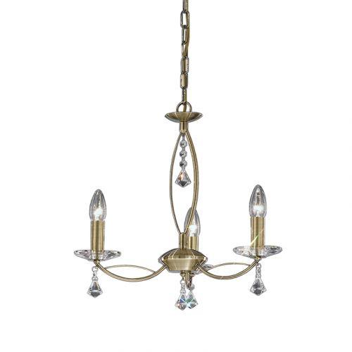 Multi-Arm Ceiling 3 Light Fitting  Bronze Crystal Glass Larvotto LEK61275