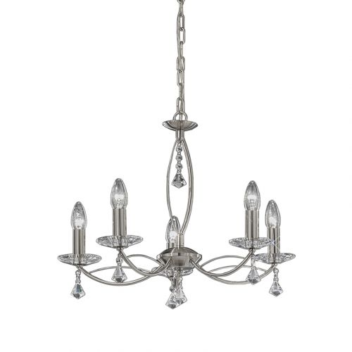 Multi-Arm Ceiling 5 Light Fitting Nickel Crystal Glass Larvotto LEK61221