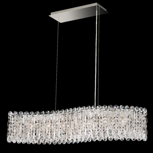 Schonbek Sarella RS8346 7 Light Bar Pendant Spectra Crystal Antique Silver Ceiling Fitting