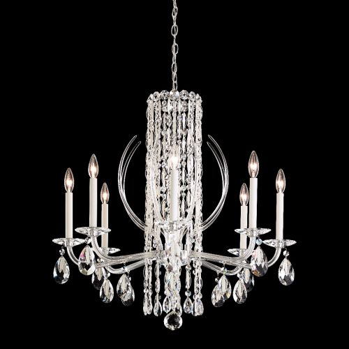 Schonbek Sarella RS8308 Crystal Ceiling Chandelier 8 Light White