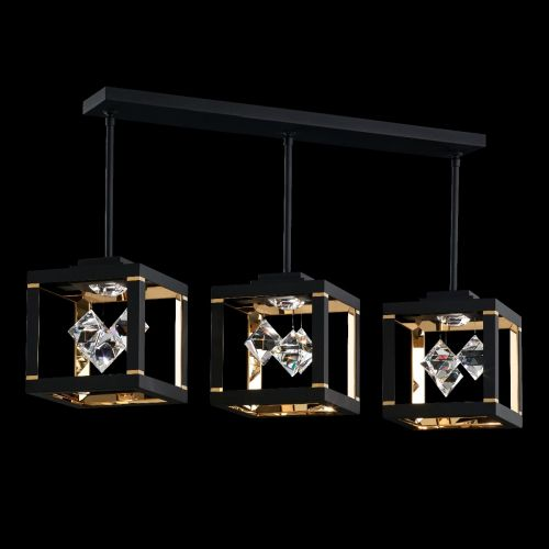 Swarovski SQB610 Fyra LED Crystal Bar Ceiling Pendant Black Frame