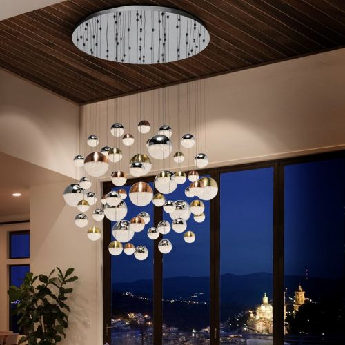 Schuller Sphere 794691 LED 55 Light Ceiling Cluster Pendant 3.5 Metre Drop Multicoloured