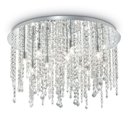 Ideal Lux Royal 053004 Crystal Ceiling Flush 12 Light Chrome
