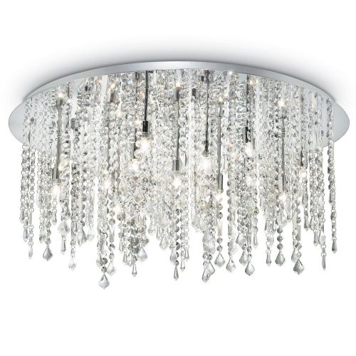 Ideal Lux Royal 053011 Crystal Ceiling Flush 15 Light Chrome