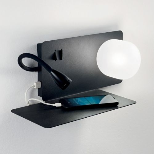 Ideal Lux Book 174808 LED Twin Wall Light Black