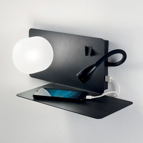 Ideal Lux Book 174846 LED Twin Wall Light Black