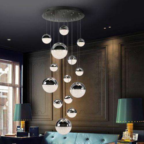 Schuller Sphere 793269 LED 14 Light Ceiling Cluster Pendant 3 Metre Drop Chrome