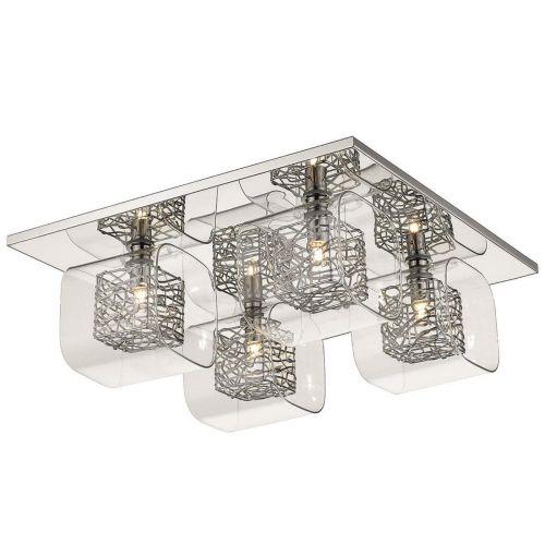 Flush Ceiling Fitting 4 Light Polished Chrome Lekki Aldermoor LEK7054