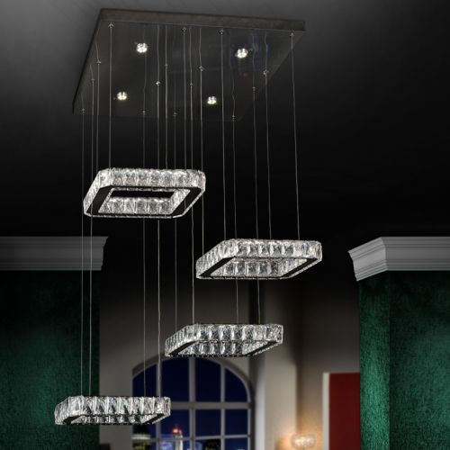 Schuller Diva 854537 LED Crystal 4 Light Pendant Chrome Frame